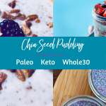 3 pictures of chia seed pudding as a background and the title Chia Seed Pudding: Paleo, Keto, Whole30 on top