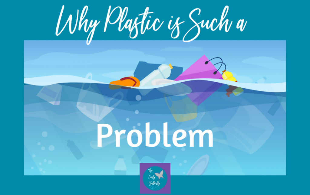 Title Why Plastic is Such a Problem over an illustration of plastic trash floating in the ocean.
