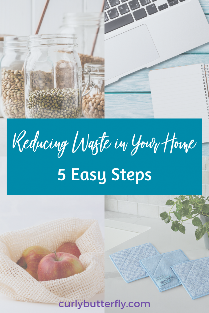 Clear glass containers, a laptop, a produce bag with apples, and 3 blue microfiber cloths on a white counter. Teal banner over the pictures with the blog Title Reducing Waste in Your Home 5 Easy Steps.